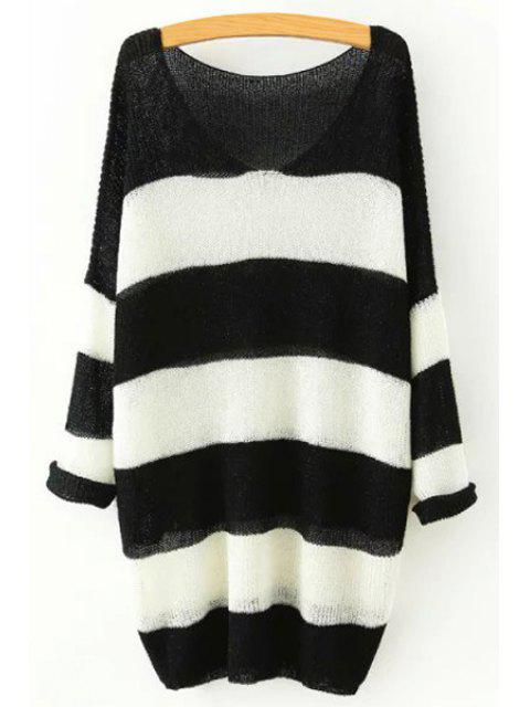 affordable V Neck Color Block Stripe Sweater - BLACK ONE SIZE(FIT SIZE XS TO M) Mobile