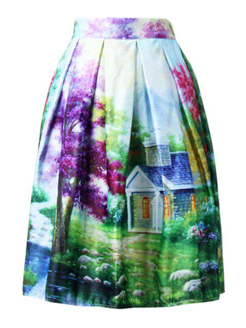 fancy Scenery Print Colorful Midi Skirt - GREEN ONE SIZE(FIT SIZE XS TO M) Mobile