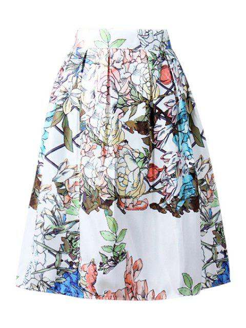 unique High-Waisted Ruffled Plant Midi Skirt - WHITE ONE SIZE(FIT SIZE XS TO M) Mobile