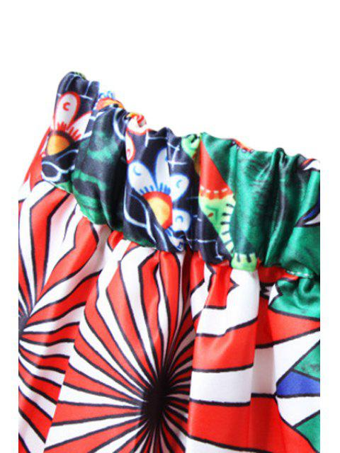 buy A-Line Cartoon Print Stripes Midi Skirt - GREEN ONE SIZE(FIT SIZE XS TO M) Mobile