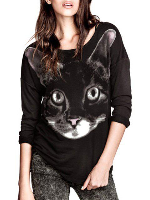 chic Animal Print Long Sleeves Sweatshirt - BLACK L Mobile