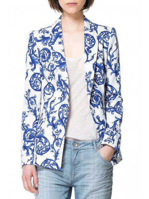 fashion Vintage Print Long Sleeve Blazer - BLUE AND WHITE 2XL Mobile