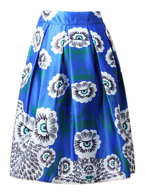 women High-Waisted A-Line Printed Midi Skirt - BLUE ONE SIZE(FIT SIZE XS TO M) Mobile