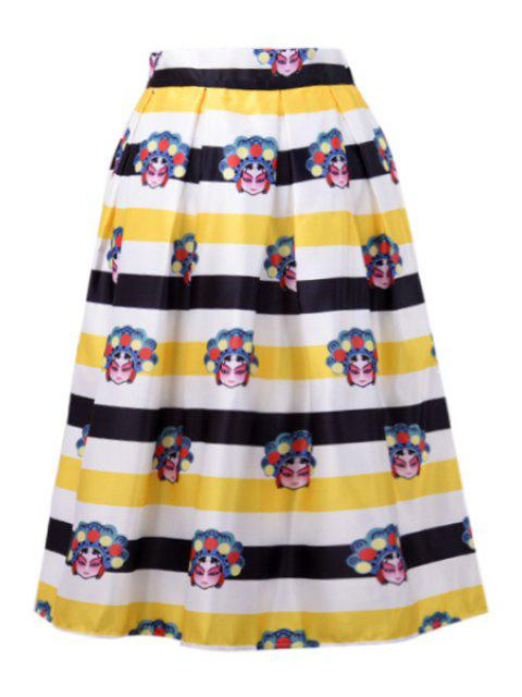 best A-Line Character Print Stripes Midi Skirt - YELLOW ONE SIZE(FIT SIZE XS TO M) Mobile