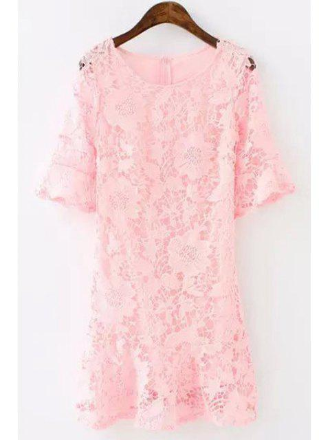 online Lace Floral Openwork Half Sleeve Dress - PINK S Mobile