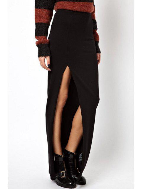 outfit Solid Color High Low Long Skirt - BLACK S Mobile