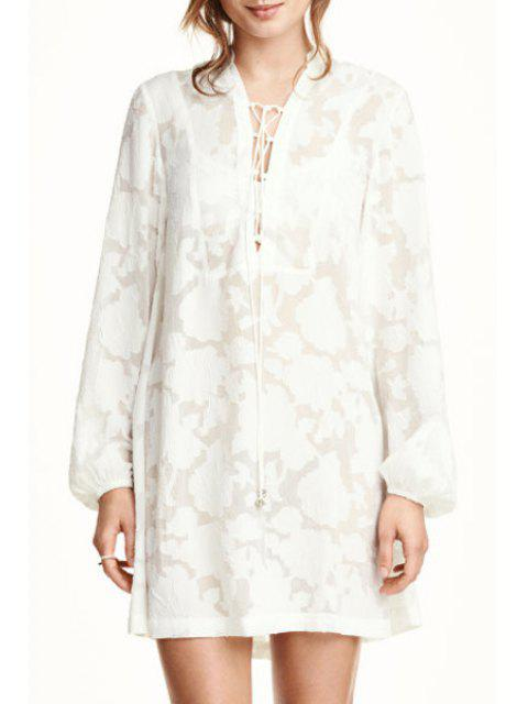 womens White Lace Plunging Neck Long Sleeve Dress - WHITE S Mobile