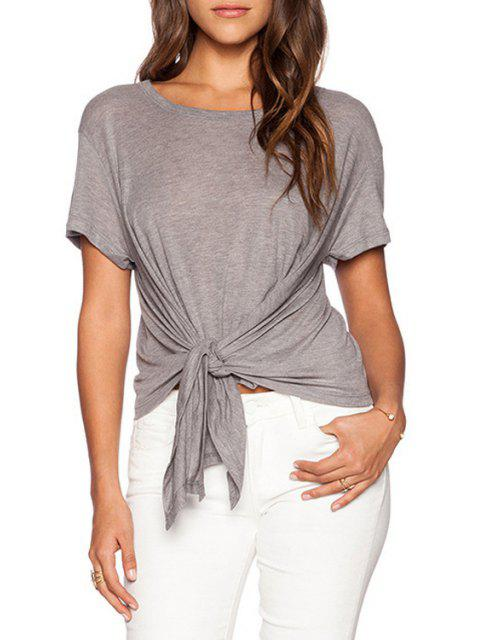 outfits Pure Color Short Sleeve T-Shirt - GRAY M Mobile