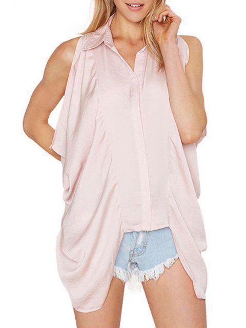 women Pink Sleeveless Backless Shirt - PINK M Mobile