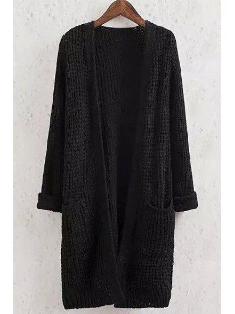 shop Solid Color Pocket Long Sleeve Collarless Cardigan - BLACK S Mobile