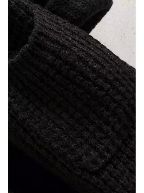 buy Solid Color Pocket Long Sleeve Collarless Cardigan - BLUE L Mobile
