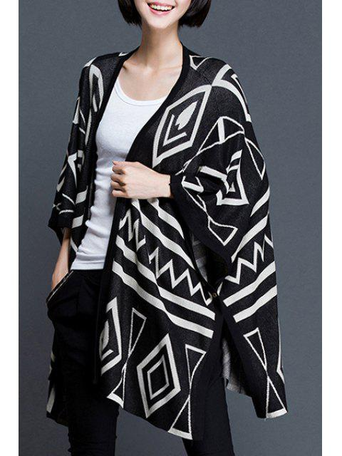 women Geometric Pattern Collarless Cardigan - BLACK ONE SIZE(FIT SIZE XS TO M) Mobile
