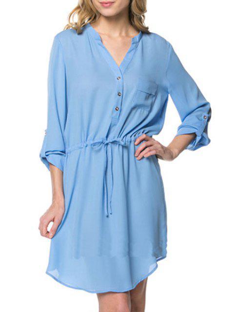 sale Pure Color V Neck Long Sleeve Dress - LIGHT BLUE M Mobile
