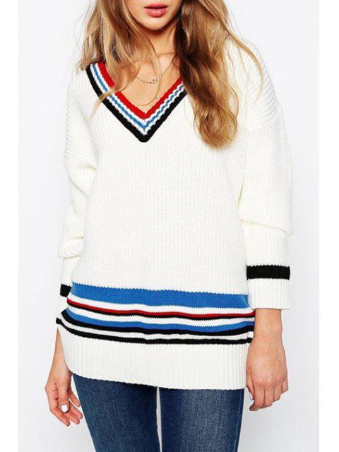 online Colorful Stripes V Neck Sweater -   Mobile