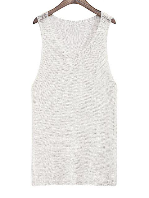 women Solid Color Knitted Hollow Out Tank Top -   Mobile