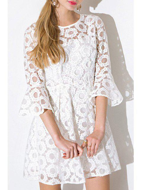 buy See-Through Tiny Floral Lace Half Sleeve Dress - WHITE M Mobile