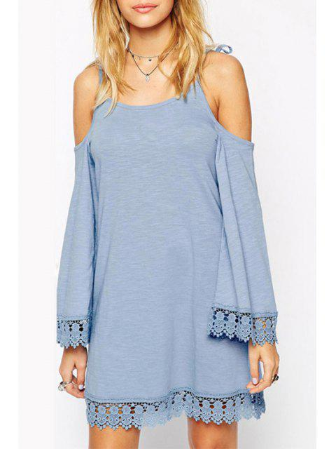 Tie-Up Lace Splicing Robe manches longues - Bleu 2XL Mobile