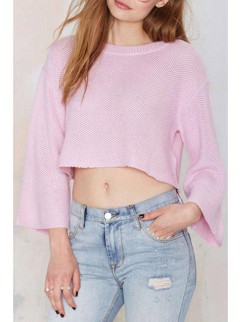 unique Solid Color Loose-Fitting Long Sleeve Sweater - PINK 2XL Mobile