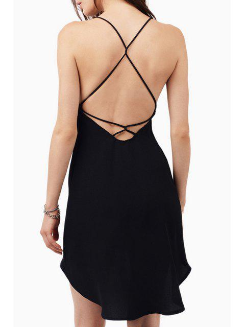 unique Spaghetti Strap Cross Backless High Low Dress - BLACK 2XL Mobile