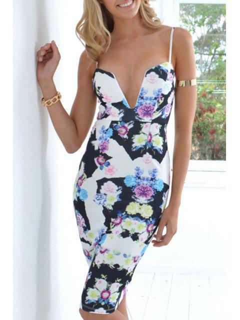 ladies Floral Print Backless Bodycon Midi Dress - LIGHT BLUE L Mobile