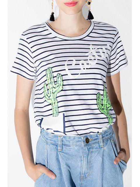 lady Stripe Cactus Pattern Sequins Short Sleeve T-Shirt - WHITE M Mobile