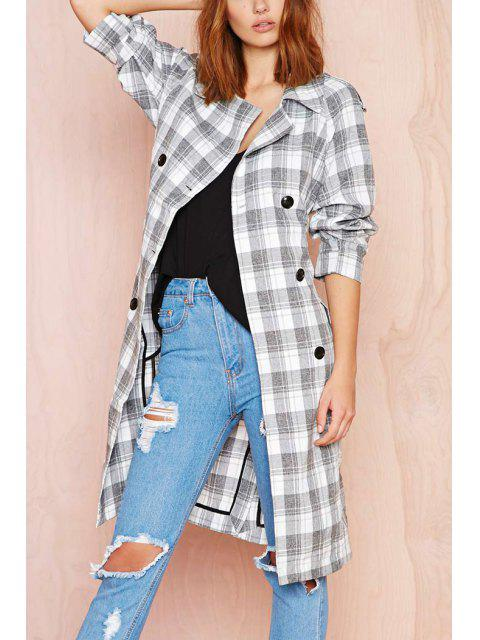 fashion Plaid Double-Breasted Long Sleeve Trench Coat - GREY AND WHITE L Mobile