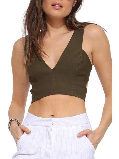 women's Solid Color Hollow Out Sleeveless Crop Top - ARMY GREEN L Mobile