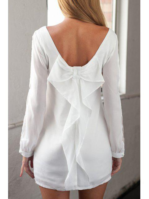 chic Long Sleeve Bowknot Cut Out White Dress - WHITE L Mobile