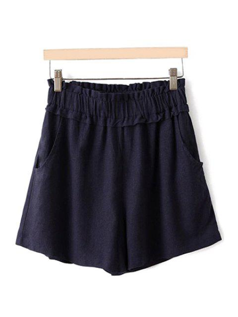 ladies Flounce Splicing Solid Color Shorts - CADETBLUE ONE SIZE(FIT SIZE XS TO M) Mobile