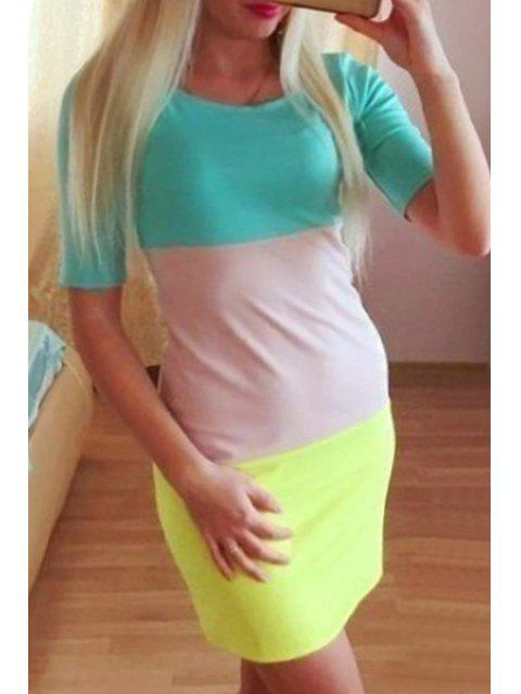 buy Colored Spliced Short Sleeve Dress - YELLOW S Mobile