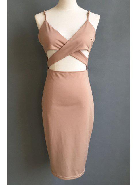 shop Solid Color Cami Hollow Midi Dress - BROWN M Mobile