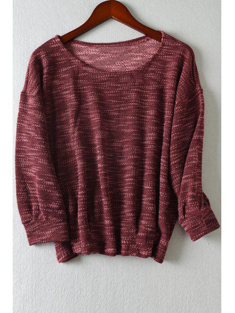 online Scoop Neck Color Mixed Long Sleeve T-Shirt - WINE RED L Mobile