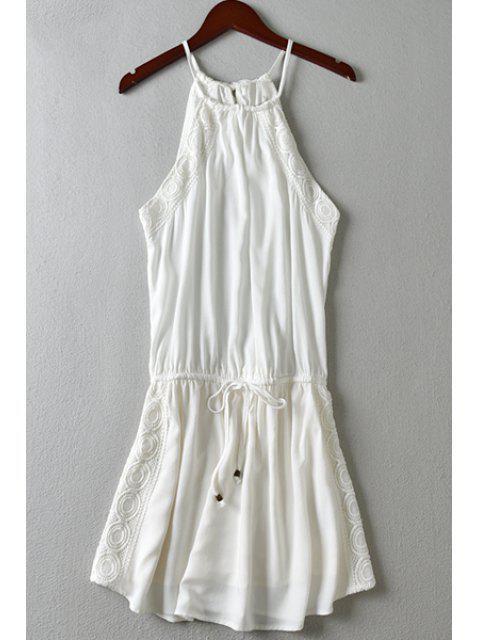 buy Spaghetti Strap Lace Splicing Tie-Up Dress - WHITE L Mobile