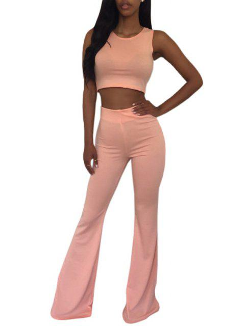women Sleeveless Crop Top and Solid Color Flare Pants Suit - PINK S Mobile