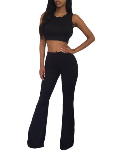 unique Sleeveless Crop Top and Solid Color Flare Pants Suit - BLACK L Mobile