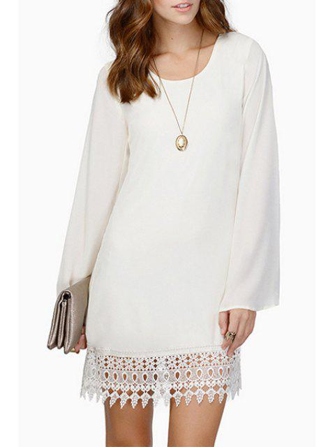 fancy Solid Color Lace Spliced Chiffon Dress - WHITE S Mobile