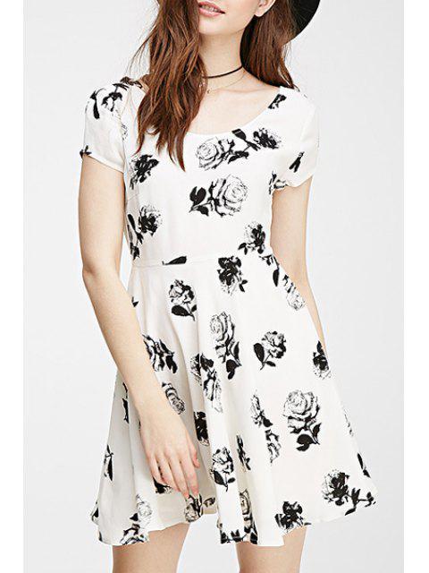 shop Black Rose Print Short Sleeve Dress - WHITE S Mobile