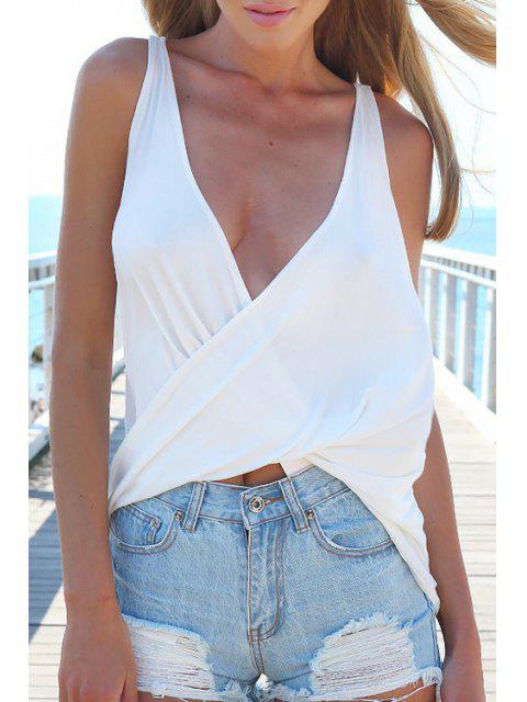 White Plunging Neck Tank Top - Blanc L Mobile