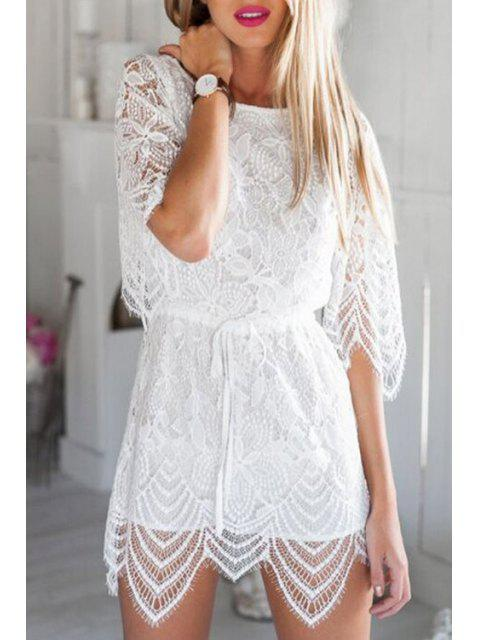 shop White Openwork Lace Hook Playsuit - WHITE M Mobile