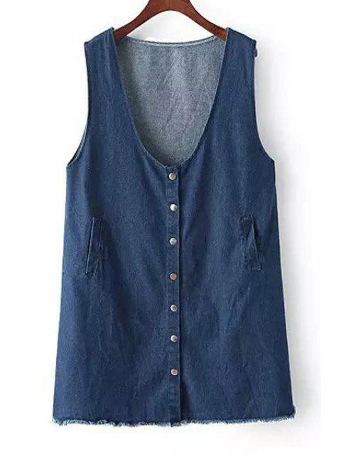 fashion Pure Color Sleeveless Denim Dress - DEEP BLUE ONE SIZE(FIT SIZE XS TO M) Mobile