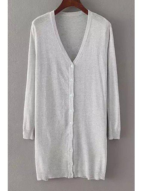 women Pure Color V Neck Nine-Minute Sleeve Cardigan -   Mobile