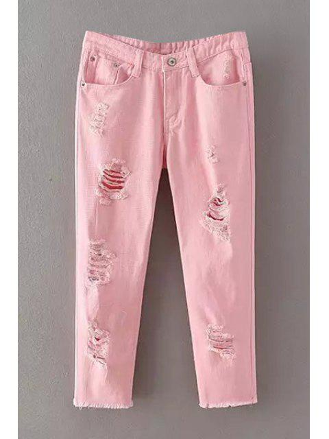 affordable Pure Color Narrow Feet Denim Capri Pants - PINK M Mobile