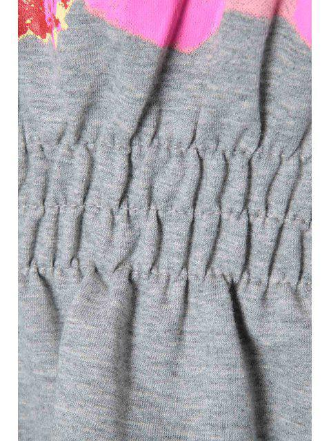 latest Color Block Letter Print T-Shirt + Solid Color Skirt - LIGHT GRAY L Mobile