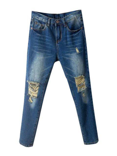 women Skinny Broken Hole Jeans - DEEP BLUE 29 Mobile