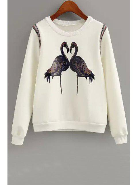 hot Crane Print Long Sleeve Sweatshirt - WHITE M Mobile