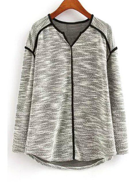 hot Color Block V Neck Long Sleeve Knitwear - GRAY M Mobile