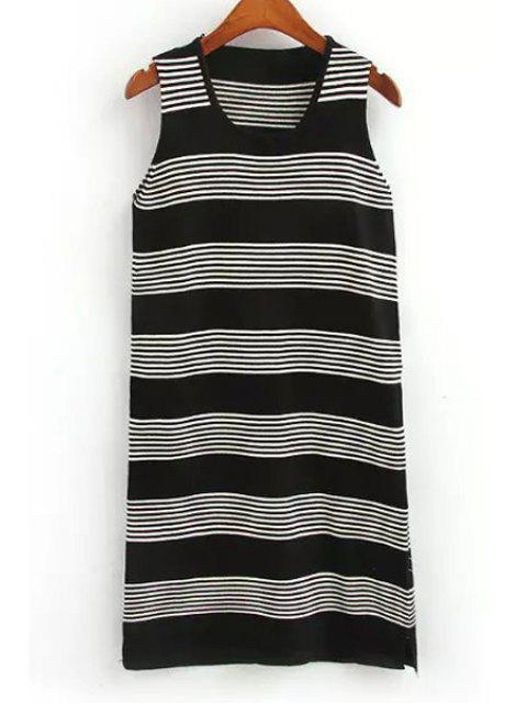 sale Striped Scoop Neck Sweater Sundress - BLACK ONE SIZE(FIT SIZE XS TO M) Mobile