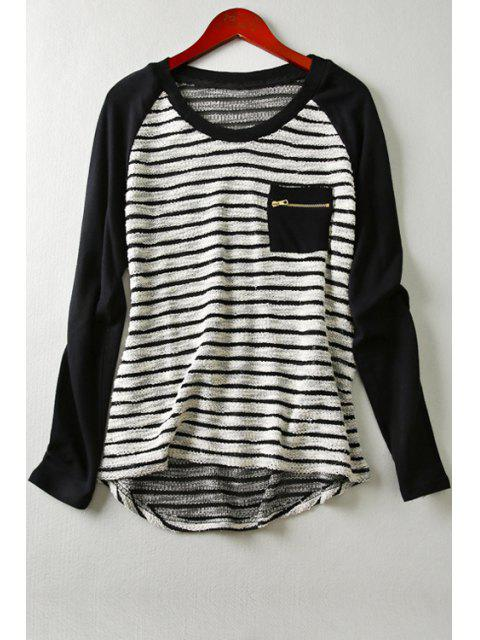 chic Long Sleeve Striped Front Pocket T-Shirt - BLACK XS Mobile