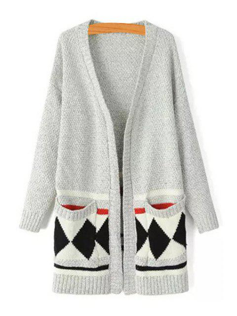 shop Argyle Pattern V Neck Long Sleeve Cardigan - GRAY ONE SIZE(FIT SIZE XS TO M) Mobile