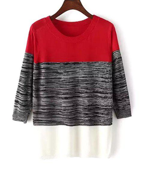 latest Color Block 3/4 Sleeve Pullover Sweater - RED ONE SIZE(FIT SIZE XS TO M) Mobile